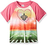 NFL New Orlean Saints Girls Short-Sleeve Tee, Pink, 3T
