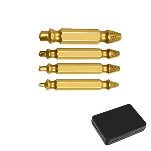 4/5/6 PCS Tornillo Dañado Extractor Drill Bit Bit Set Stripped Roto Tornillo Bolt Remover Extractor Sacar Fácilmente Herramientas De Demolición (Size : 4 PCS Gold with box)