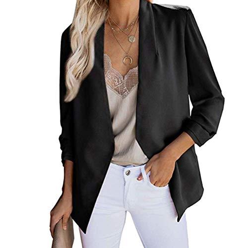 Abuyall, lässiger langer Damen-Blazer mit 3/4-Arm, leichte Kostümjacke in Übergröße mit Taschen Gr. 44-46, Schwarz