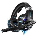 alian auriculares Gaming PS4onikuma k2-a Headset de Juegos con micrófono stereo surround LED para PC móvil Xbox One S USB jack de 3.5mm, Rojo, Azul