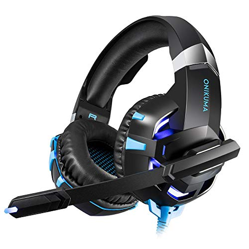 alian auriculares Gaming PS4 onikuma k2-a Headset de Juegos con micrófono stereo surround LED para PC móvil Xbox One S USB jack de 3.5 mm, Rojo, Azul