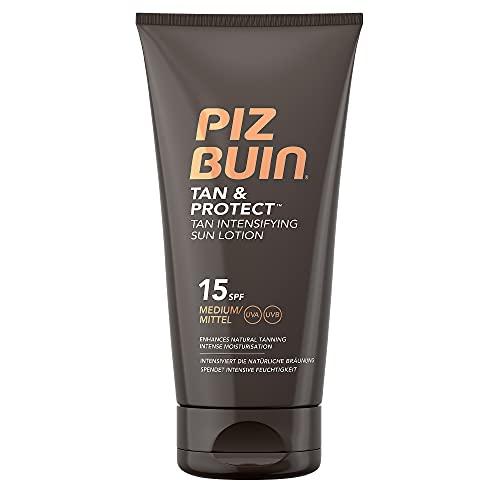 Piz Buin Tan und Protect Intensiving Lotion LSF 15, Bräunungsintensivierende Lotion mit effektive UVA- und UVB-Filter, 150 ml
