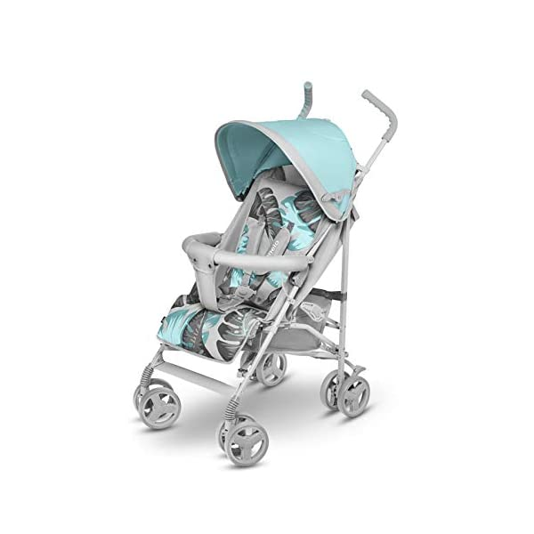 Lionelo Elia Buggy Small Folding Pushchair Buggy up to 15 kg Back and Footrest Adjustment Rear Wheel Brake Mosquito Net Leg Warmer Rain Cover Shopping Basket Lionelo Safe and handy. The Elia pushchair has a simple folding system. Does not need much space after folding. Folding the buggy takes only a few seconds, with a carry handle and the weight of only 7 kg, ideal for travel, on the train or in the car boot. Features: Complete set with mosquito net, leg warmer and rain cover, spacious storage basket, back and footrest adjustment, handle height at 105 cm. Swivel lock and rear brake. On the rear axle there is a comfortable and quick to use brake that is operated with one foot. The front wheel has a swivel lock that helpfully holds a steady course on uneven terrain. 3