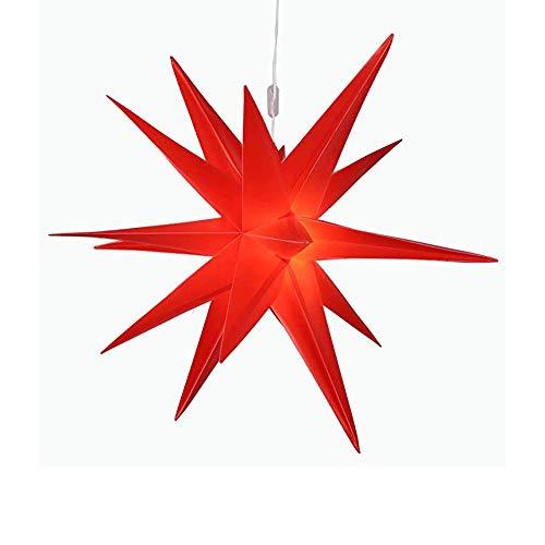 Außenstern rot led beleuchteter Stern ca. 58 cm Weihnachtsstern Leuchtstern Faltstern, IP44 wetterfest Batteriebetriebend Garten Deko