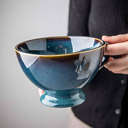 Groß Kaffeetasse Suppentasse Mit Henkel, Keramik Frühstückstasse Getreide Suppenschüssel Mikrowellen- Und Ofenfest Kaffeebecher Für Joghurt Milch EIS Dessert-Blau-500ml/17oz