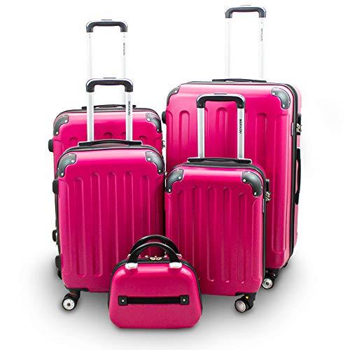 BERWIN Kofferset 5-teilig Reisekoffer Trolley Beautycase Hartschalenkoffer ABS Teleskopgriff (Pink)