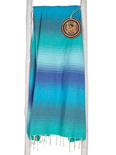 ZusenZomer Fouta Playa XL 100x190 CASAD - Toalla Hammam 100% Algodón Foutas Playa Comercio Justo (Azul, Verde)