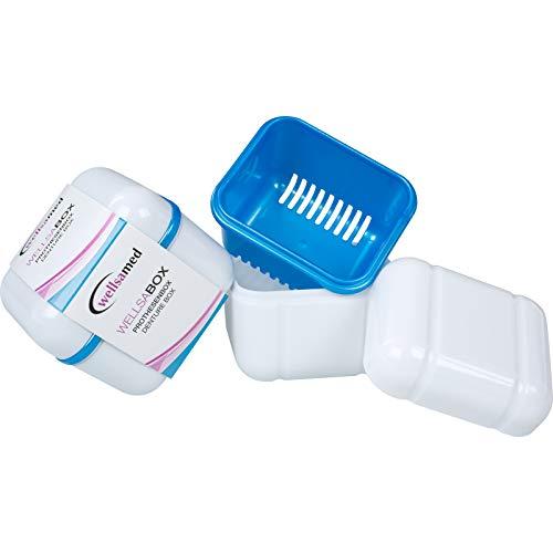 wellsamed Wellsabox Prothesenbox 3-teilig mit Einsatz, Sieb, Prothesendose, Zahnspangendose, Reinigungsbox, Retainer Box, Dentalbox, Gebissdose, 1 Stück