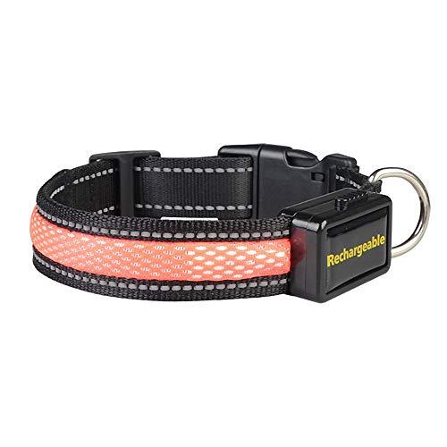 YAJAN-DogCollar Led-hondenhalsband, lichthalsband, USB-oplaadbaar, in lengte verstelbaar, oplaadbaar via netstroom, verlicht nachtlampje, reflecterend