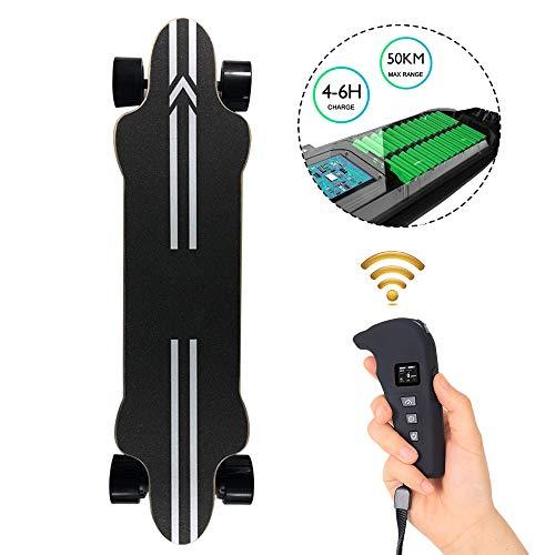 WRISCG Skateboard Elettrico Longboard con Telecomando, Skateboard Elettrico Cruiser, Adulto Elettrico, velocità del Motore 600w Max 40 km/h, Distanza Massima 50 km