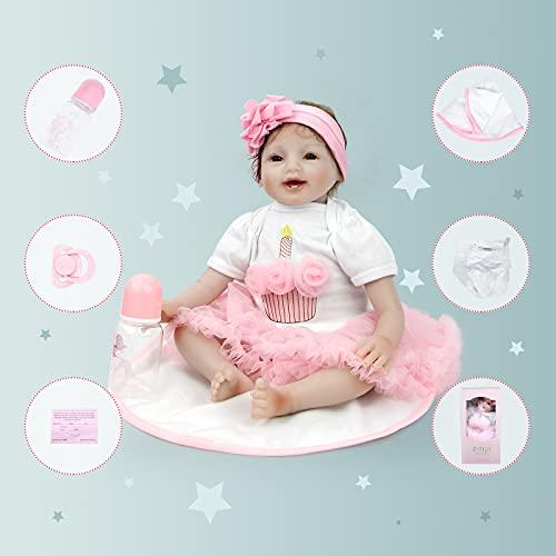 Bambole Reborn Femmine Bambolotto Neonato Vero Silicone Sembrano Morbido Bambola Reborn Toddler 22 In 55cm