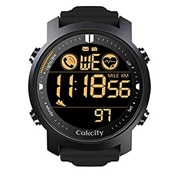 CakCity Mens Digital Sport Watches for Men Wrist Watches with Heart Rate Pedometer Steps Tracker