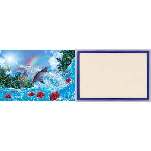 450ピース ジグソーパズル ラッセン シャイニング ドルフィンズ スモールピース 【クリアカットジグソーパズル】(26x38cm)+木製パズルフレーム ウッディーパネルエクセレント シャインブルー