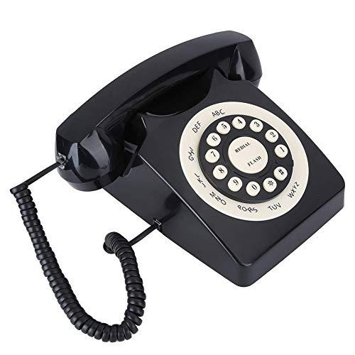 Teléfono antiguo, teléfono antiguo, teléfono con cable de calidad de llamada de alta definición para oficina en casa, negro