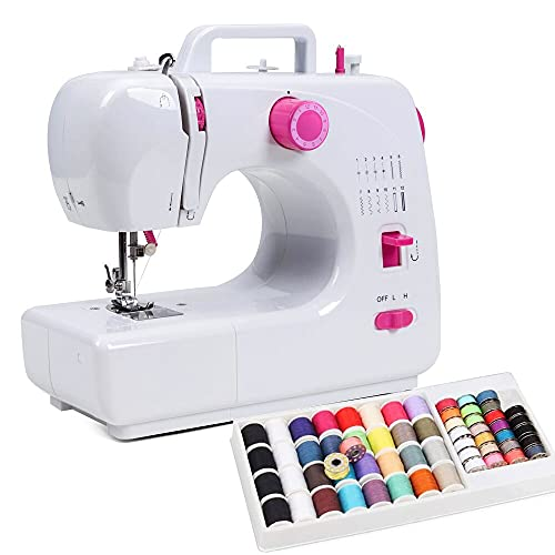 NEX Tragbare Nähmaschine mit Fußpedal Mini Sewing Machine mit 60 STK Nähgarn Set 16 Nähprogramme für Kinder Anfänger New