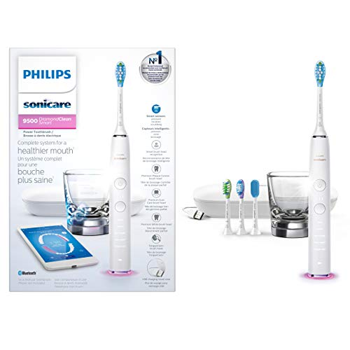 Philips Sonicare DiamondClean Smart 9500 Rechargeable Electric Toothbrush (White),HX9924/01