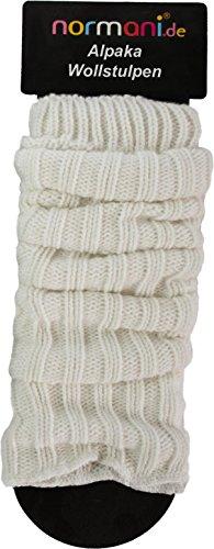 normani 2 Paar Super Warme Alpaka Beinstulpen Legwarmer Farbe Wollweiß