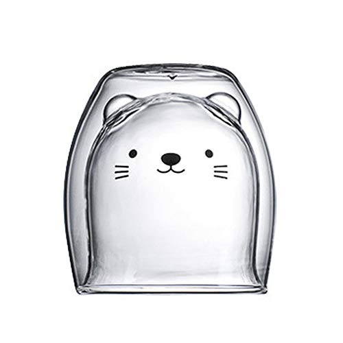 RSTYS Cute Mugs, Insulated Double Wall Glass Cat Tea Cup Animal Milk Cup Coffee Cup Christmas Creative Present Cup Best Gifts for Colleagues Friends and Birthday