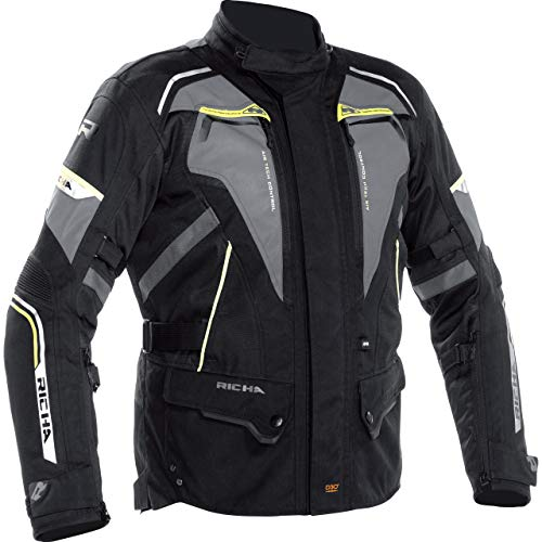 Richa Motorradjacke mit Protektoren Motorrad Jacke Infinity 2 Flare Textiljacke grau/neon-gelb XL, Herren, Tourer, Ganzjährig