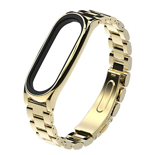 Für Xiaomi Mi Band 3 Armband,Luxury Stainless Steel Bracelet Replacement Watch Band Strap for Xiaomi Mi Band 3 (Gold)