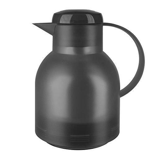 Emsa Samba Isolierkanne 509821 | 1 Liter | Quick Press Verschluss | 100% dicht | 12h heiß, 24h kalt | Anthrazit Transluzent