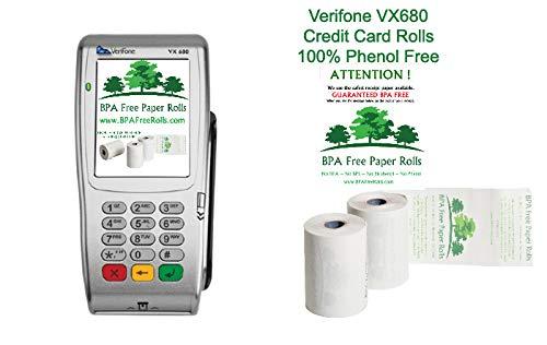BPA Free Paper Rolls Lot de 50rouleaux thermiques pour terminaux cartes bancaires Verifone VX680 Sans BPA, BPC ni BPS