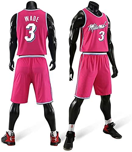 Traje De Ropa De Baloncesto para Hombres Wade Heat 3 Ciudad Versión De La Camiseta Uniforme Camisa De Verano Chaleco Shorts, Negro, XS, Pink - XXL