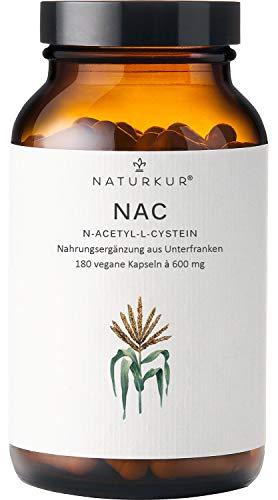 Naturkur® NAC N-Acetyl-L-Cystein 600 mg - 180 vegane Kapseln im Apothekerglas für 6 Monate - Laborgeprüft nach DIN EN ISO 17025, ohne Zusatzstoffe, hergestellt in Unterfranken