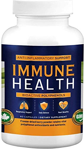 Immune Health - Haskap Berry Powder Capsules with Zinc, Powerful Antioxidant C3G Anthocyanins and Polyphenols (1 Month Supply, 60 Capsules)