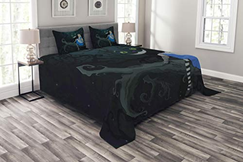 Ambesonne Alice in Wonderland Bedspread, Alice Sitting on Branch and Chescire Cat in Darkness Cartoon Style, Decorative Quilted 3 Piece Coverlet Set with 2 Pillow Shams, Queen Size, Dark Green