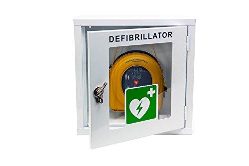 MedX5 (Upgrade 2019) universal Defibrillator Metall Wandkasten für Innen, pulverbeschichtet für alle AED's ohne Alarm