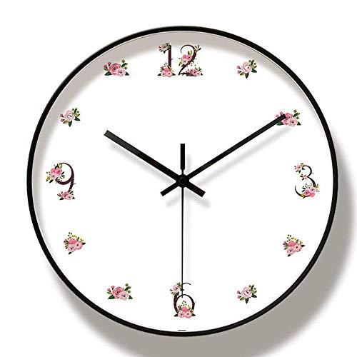 Mode Zhoumei Silent moderne wandklok 12 '' Floral Wall Clock Niet Ticking batterijen gevoede Digital Quiet Sweep klok for de woonkamer Silent moderne wandklok (Color : White/Black, Size : 12'')