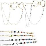 2 Piezas Cadena de Gafas Lectura Gafas Cadena Mujer Acero Inoxidable Cuentas de colores Cadena para Gafas de Sol (Plata y Oro)