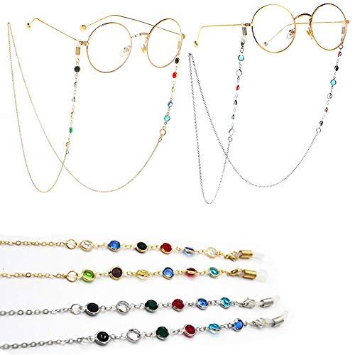 REYOK 2 Pezzi Occhiali Catena di Colore Perline Cchiali Cordino Occhiali da Sole Cordino Fermaocchiali Cinturino per Donna, Oro e Argento