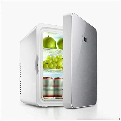 Feng Mini-koelkast, 2-in-1, 22 liter, roestvrij staal, met koel- en verwarmingsfunctie, stopcontact en sigarettenaansteker, 12 volt en 230 volt, kabel auto, warmhoudbox, mini-thermobox