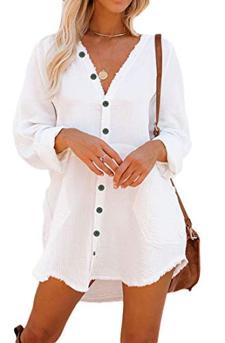 Button Down Tunic for Women Long Sleeve V Neck Blouse Shirt with Frayed Trim Relaxed Fit (Medium, White)