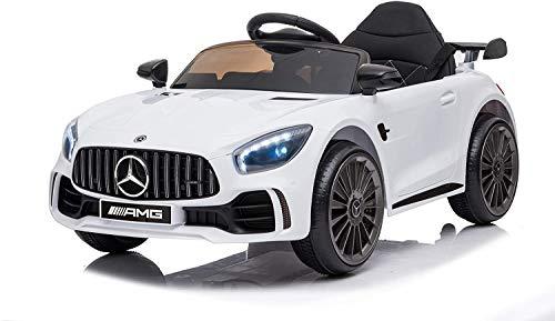 Mercedes GTR AMG ( Bianca ) Nuova Versione Macchina Elettrica per Bambini Ufficiale con Licenza 12 Volt Batteria con Telecomando 2.4 GHz Porte Apribili con MP3
