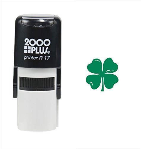 St. Patrick's Day Four Leaf Clover 2000 Plus Self Inking Teacher Rubber Stamp - Green Ink