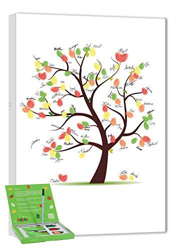 galleryy.net Wedding Tree Leinwand 60x40 INKL Zubehör-Set GRATIS (Stempelkissen+Stift+Anleitung+Hochzeitsbuch+...) - Hochzeitsbaum Fingerabdruck Gäste - Wedding Tree Leinwand