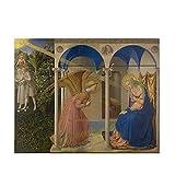 Cuadro famoso de Fra Angelico 'La Anunciación' impreso en lienzo, cuadro de arte de pared para sala de estar, decoración del dormitorio, póster de 50x65 cm sin marco