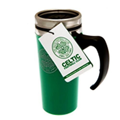 Celtic FC Official Soccer Aluminum Travel Mug (One Size) (Green/Silver)