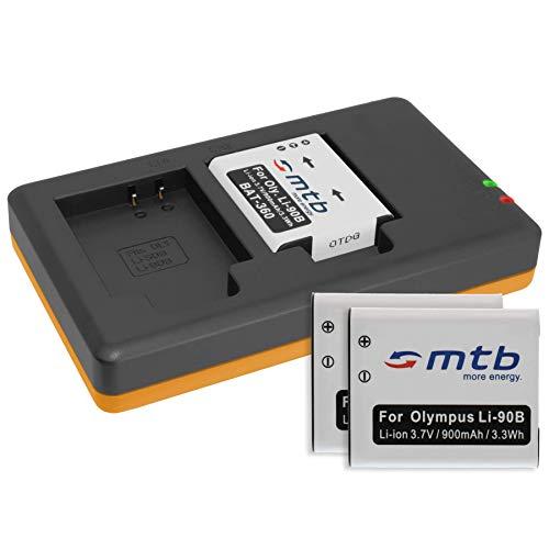 3 Batterie + Caricabatteria doppio (USB) per LI-90B Li-92B / Olympus Tough TG-1, TG-2, TG-3, TG-4 / Actioncam TG Tracker/SH-… v. lista - (Cavo USB micro incluso)