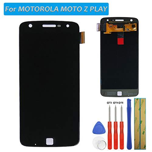 Melphyreal E-YIIVIIL Bildschirm Kompatibel mit Motorola Moto Z Play Bildschirm Amoled Touchscreen Glas Ersatz LCD Bildschirm Digitizer (Schwarz) + Werkzeuge