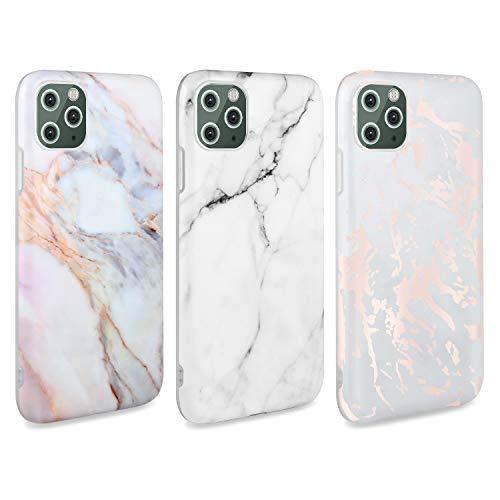 AROYI [3 Stück iPhone 11 Pro Hülle Matt Marmor, Weich Silikon Handyhülle Stein Marble Ultra Dünn Handytasche Flexibel Kratzfest Schutzhülle Cover für iPhone 11 Pro (Weiß)