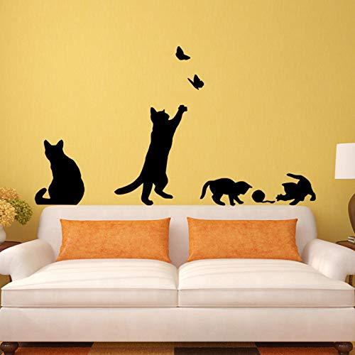 Katzenspiel Butterfly Wall Sticker Schlafzimmer Küche Wohnzimmer Wand abnehmbare Deko Aufkleber