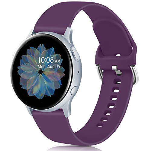 Oumida 20mm Correa Compatible con Samsung Galaxy Watch Active 40mm/Active2 40mm 44mm,Pulseras de Repuesto de Silicona Suave para Samsung Galaxy Watch 42mm/Watch 3 41mm/Gear Sport(S,Púrpura)