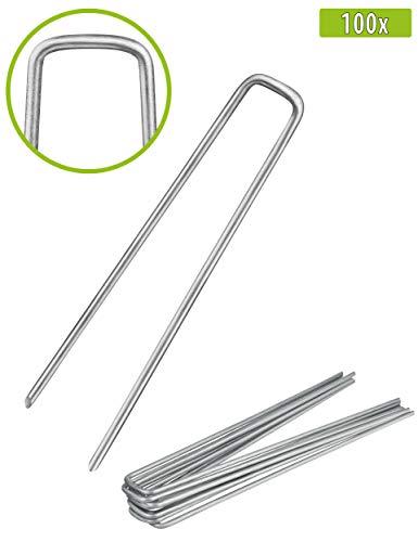 Balinco 100x Anti-ROST Erdanker | Bodenanker | Erdnägel aus verzinktem Stahl zur Befestigung von Unkrautvlies | Unkrautfolie | Gartenvlies | Zaun & Netz oder fürs Camping - (100, 200x25x3,8 mm)