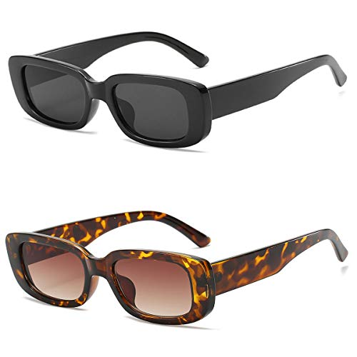 Xmifer Rectangle Sunglasses for Women Retro Fashion Trendy Sunglasses UV400 Protection 2 Pieces