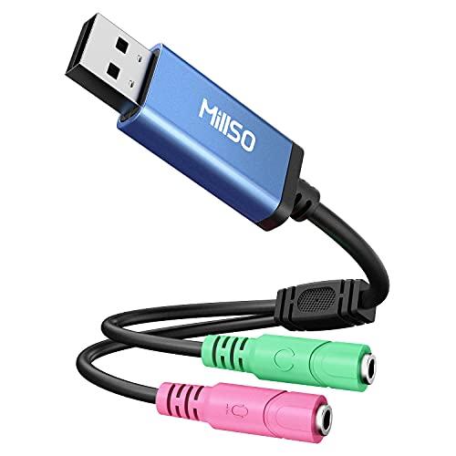 USB Externe Soundkarte für Laptop, Computer, PS5, PS4 USB auf 3.5mm Klinkenbuchse Stereo Audio Kabel für Headset, Lautsprecher oder 3 Pole TRS Mikrofon Plug and Play, Keine Treiber erforderlich