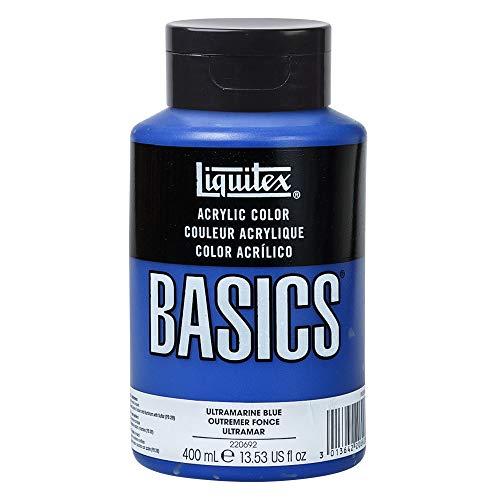 Liquitex 4640380 Basics Acrylfarbe, monopigmentierte Künstlerpigmente, lichtecht, mittlere Viskosität, Achivqualität, seidenglänzender Finish, 400ml Flasche, sltramarinblau